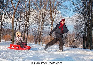jogar crianças, em, um, inverno, parque