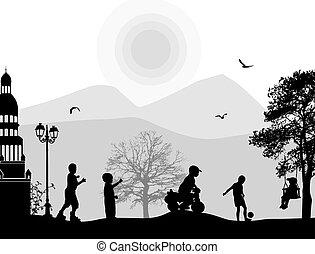 jogar crianças, em, um, parque