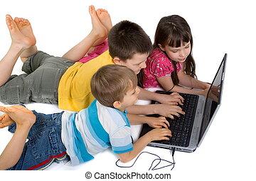 jogar crianças, ligado, laptop