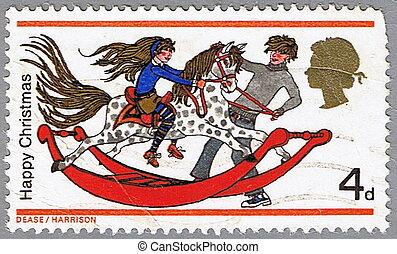 jogar crianças, ligado, um, cavalo