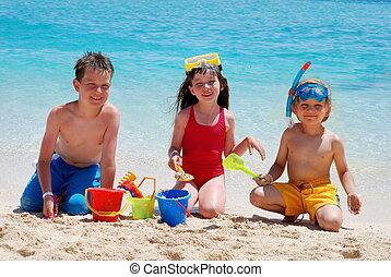 jogar crianças, ligado, um, praia