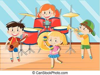 jogar crianças, música, junto