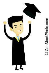 jogar, graduado, cima, graduação, hat.