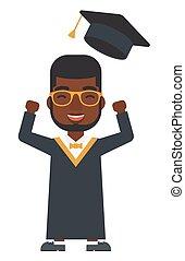 jogar, graduado, seu, cima, hat.