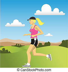 Jogger - A Woman jogging in the Countryside