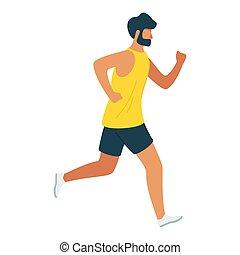 jogger, arbeitende , läufer, abbildung, vektor, mann, karikatur, heraus