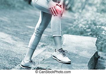 jogger, com, magoado, joelho
