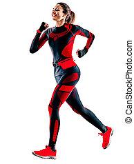 jogger, frau, hintergrund, weißes, läufer, overall, freigestellt, jogging, rennender