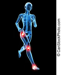 Jogger having pain in the joints - medical 3d illustration -...
