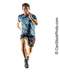 jogger, hintergrund, weißes, junger, läufer, mann, freigestellt, rennender