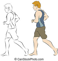 jogger, mann, sandstrand