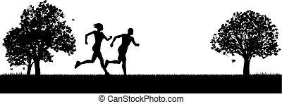 jogger, park, trainieren, läufer, oder