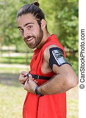 jogger posing