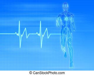 jogger pulse - 3d rendered illustration of a transparent...
