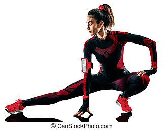 jogger, rennender , frau, läufer, hintergrund, freigestellt, jogging, overall, weißes
