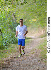 jogger running in the forest