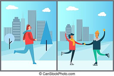 Jogger Running on Background of Skyscraper Couple