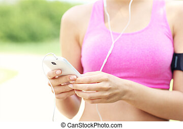 jogger, smartphone, mittelteil