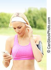 jogger, smartphone