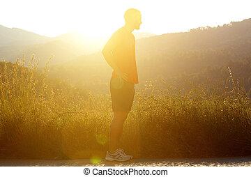 jogger, stehende , draußen, mann, silhouette