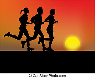 jogger - group of jogger with sunset as backdrop