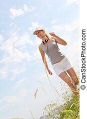 jogger, trainieren, meer