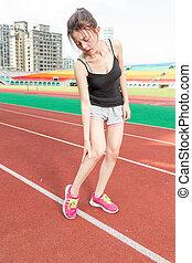 jogger, verletzt, chinesisches , bein