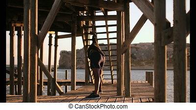 joggeur, africaine, exercisme, mâle, jetée, américain, plage, 4k