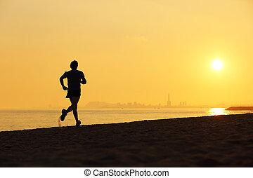 joggeur, coucher soleil, courant, plage, silhouette
