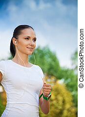 joggeur, positif, parc, jeune