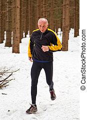 joggin, personne agee, homme neige