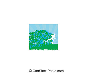 Jogging - Abstract silhouettes card