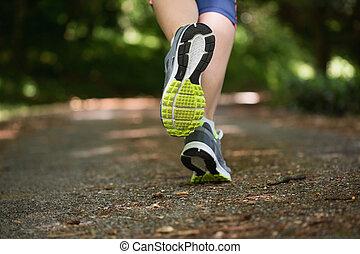 jogging, aparat fotograficzny, precz, kobieta