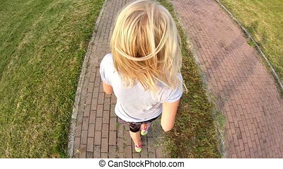 jogging backside aerial view