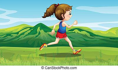jogging, collines, girl