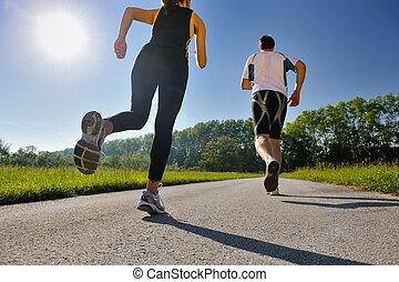 jogging, coppia, giovane