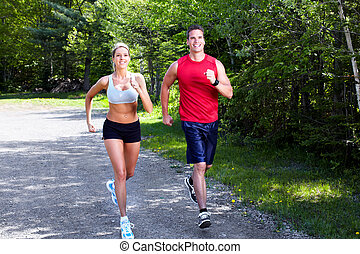 jogging, coppia.