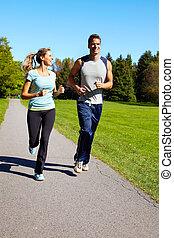 jogging, couple.