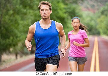 jogging, couple, courant, route