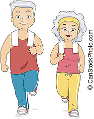 Illustration of an Old Couple Jogging Together