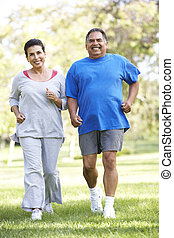 jogging, couple, parc, personne agee