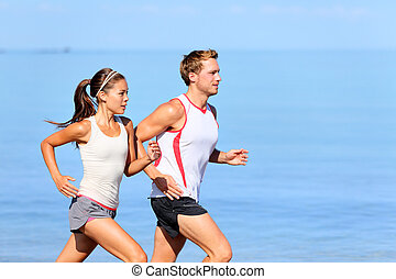 jogging, couple, plage, courant