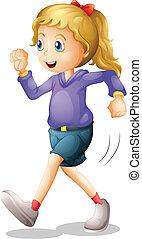 jogging, dame, junger