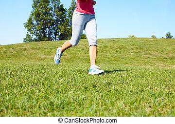 jogging, donna, feet.