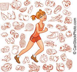 jogging, donna, giovane