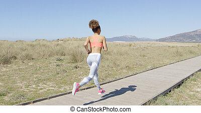 jogging, dos femme, vue