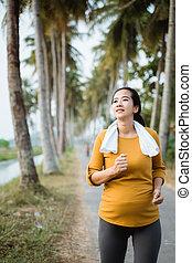 jogging, draußen, schangere frau, natur