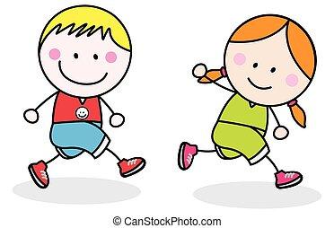 jogging, dzieciaki
