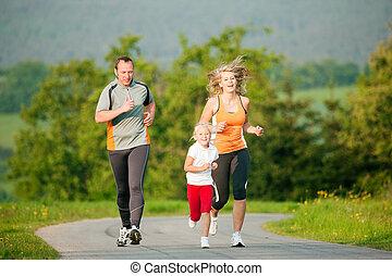 jogging, famiglia, fuori