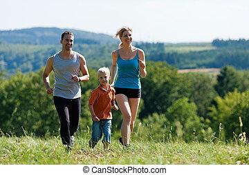jogging, -, familia , deportes